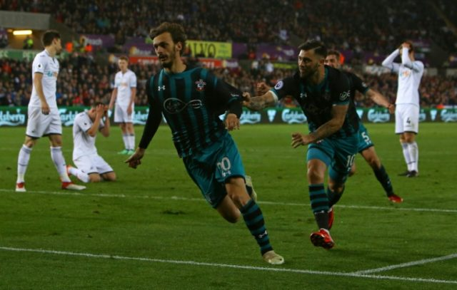 Manolo Gabbiadini scored the only goal as Southampton's win at Swansea confirmed West Brom's relegation