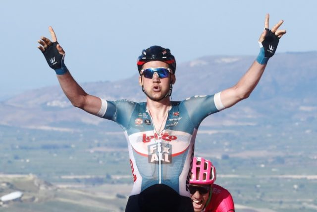Tim Wellens celebrates victory in stage four of this year's Giro