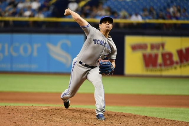 Roberto Osuna of the Toronto Blue Jays pitches during the ninth inning against the Tampa Bay Rays on May 6, 2018 at Tropicana Field in St Petersburg, Florida