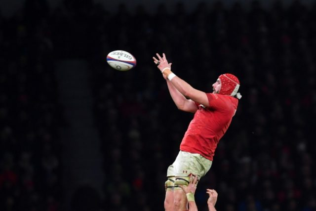 Wales lock Cory Hill in Six Nations action against England
