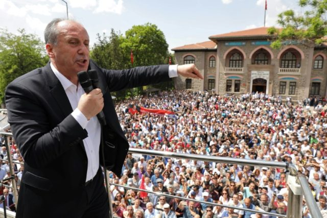 Turkey's main opposition Republican People's Party candidate Muharrem Ince delivers a speech in Ankara on May 4, 2018