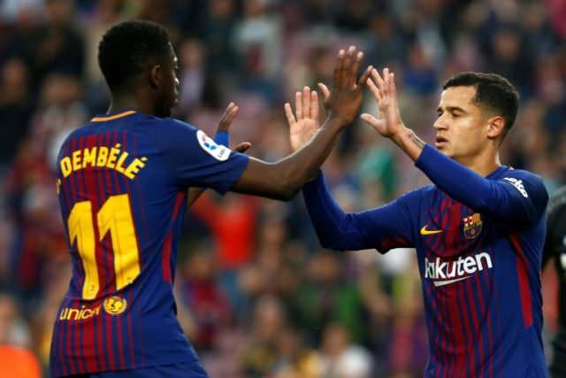 French forward Ousmane Dembele (L) was the provider for Philippe Coutinho before hitting two, second-half, goals of his own at Camp Nou
