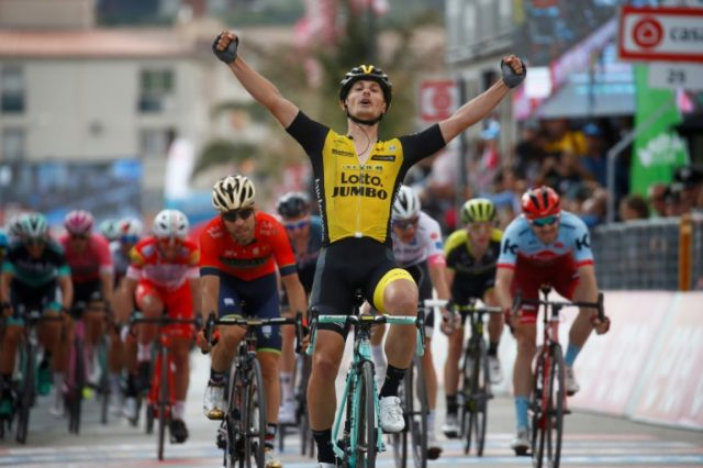 Finally: Enrico Battaglin celebrates winning the Giro d'Italia fifth stage in Santa Ninfa, four years after his last win in any race