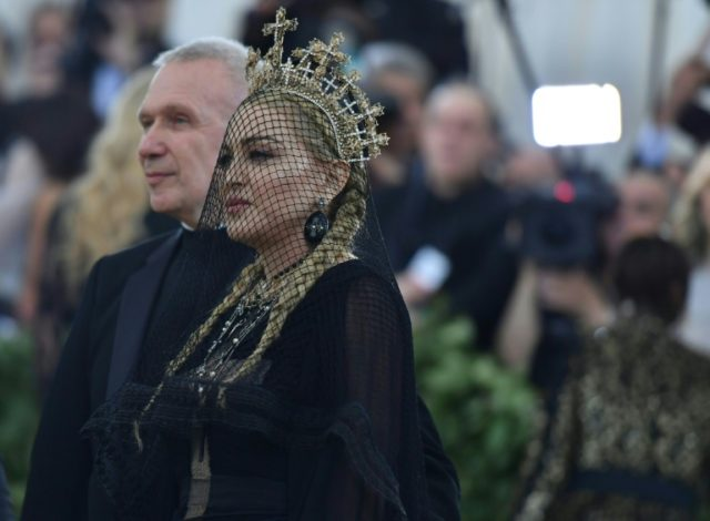 French Designer Jean-Paul Gaultier and Madonna arrive for the 2018 Met Gala at the Metropolitan Museum of Art in New York