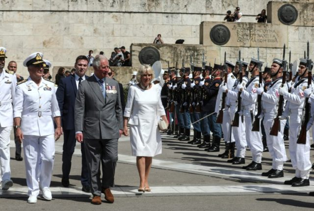 Prince Charles and his wife Camilla visited the Tomb of the Unknown Soldier in Athens during a three-day official visit.