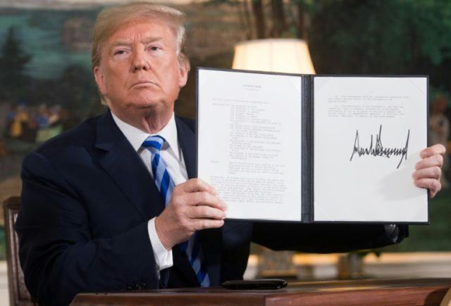 US President Donald Trump signed a document reinstating sanctions against Iran on May 8