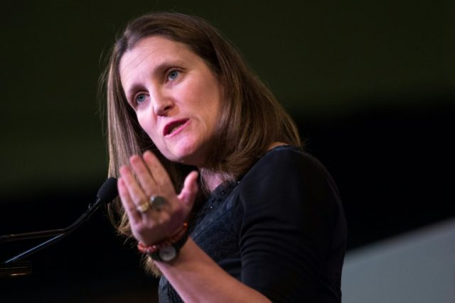 Canadian Foreign Minister Chrystia Freeland, pictured last month, said Canada, Mexico and the United States' NAFTA retooling is focusing on car manufacturing content rules