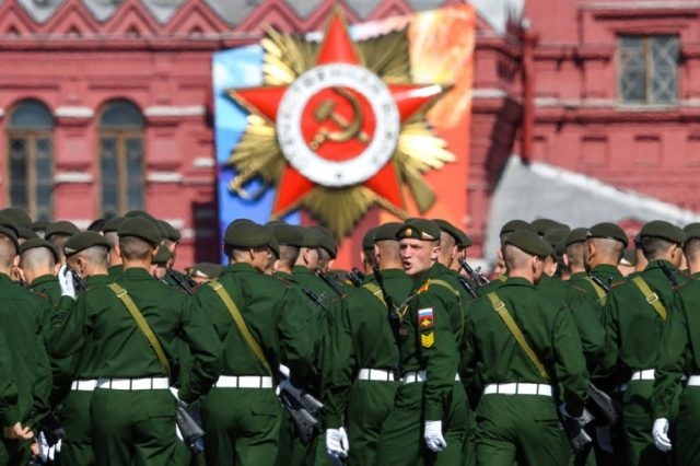 Russian servicemen get ready for the Victory Day military parade at Red Square in Moscow on May 9, to mark the anniversary of victory over Nazi Germany in 1945