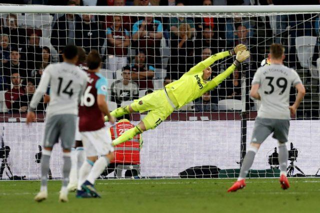 West Ham goalkeeper Adrian kept Manchester United at bay