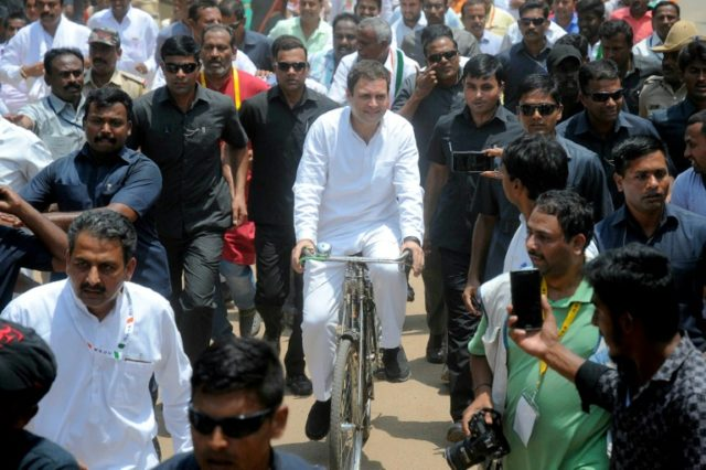 Indian National Congress president Rahul Gandhi campaigns for elections in Karnataka that are viewed by many as a do-or-die test for the party