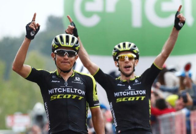 Two's company: Esteban Chaves (L) crosses the finish line ahead of British teammate Simon Yates to win the 6th stage of the Giro d'Italia between Caltanissetta (Sicily) and Mount Etna