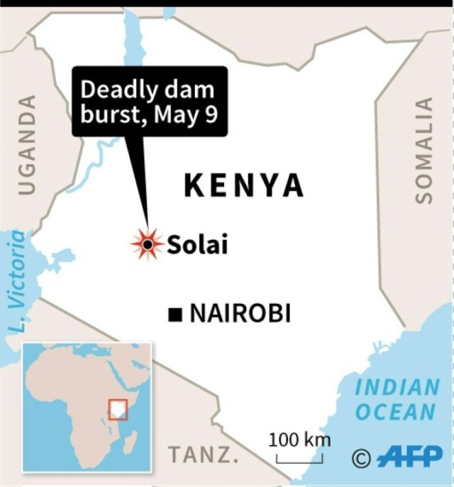 Map of Kenya showing where a dam has burst killing at least 27 people