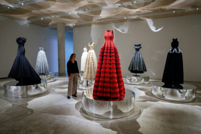 "Dresses by Tunisian-born designer Azzedine Alaia, in a collection entitled ""Exploring Volume 2017"", ahead of a forthcoming exhibition of the designer's work at London Design Museum"