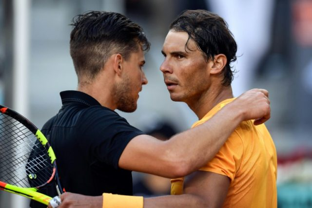 End of winning run: Rafael Nadal congratulates Dominic Thiem