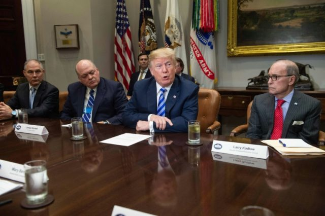 US President Donald Trump speaks during a meeting with carmakers in the Roosevelt Room at the White House in Washington, DC, on May 11, 2018