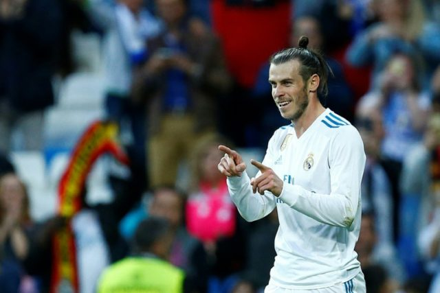 At the double: Real Madrid's Gareth Bale celebrates his second goal