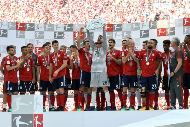 Bayern Munich were crowned Bundesliga champions for the sixth year in a row