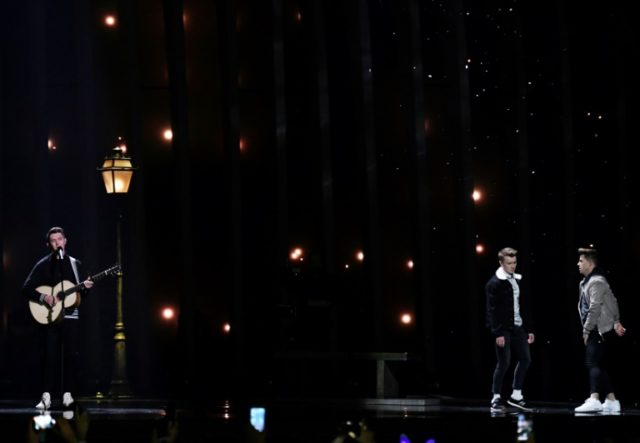 Ryan O'Shaughnessy (L) performs during the Eurovision Song Contest 2018. Chinese channel MangoTV lost its broadcasting rights after editing out the performance, which featured a romantic dance sequence by two men.