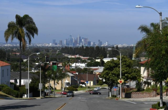 "View of downtown Los Angeles taken from View Park, the upscale community known as the ""Black Beverly Hills"""