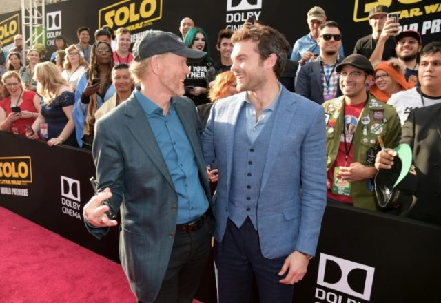 """Ron Howard and Alden Ehrenreich attend the premiere of Disney Pictures and Lucasfilm's """"Solo: A Star Wars Story"""" at the El Capitan Theatre on May 10, 2018 in Hollywood"""