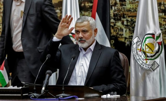 Ismail Haniya, head of the Palestinian Islamist movement Hamas, delivers a speech in Gaza City on April 30, 2018
