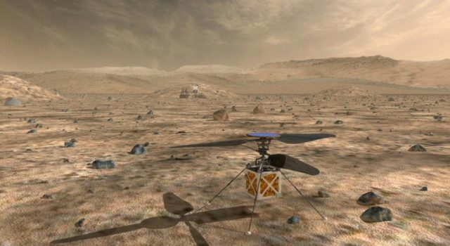 An illustration of NASA's Mars Helicopter, an autonomous rotorcraft that weighs less than four pounds (1.8 kilograms) and has a main body section, or fuselage, that is about the size of a softball