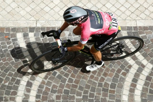 In the pink: Simon Yates on Sunday