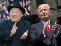 North Korean leader Kim Jong Un (L), is shown in a composite photo with US President Donald Trump, ahead of their summit announced for June 12 in Singapore