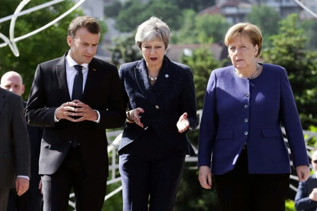 French President Emmanuel Macron (L), British Prime Minister Theresa May (C) and German Chancellor Angela Merkel among the EU leaders meeting in Sofia who vowed to refuse US trade talks unless Washington grants permament exemption from punishing metals tariffs