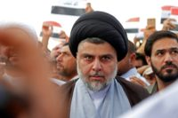 Moqtada al-Sadr, described by the Pentagon in 2006 as the biggest threat to stability in Iraq, pictured in the city of Najaf on April 15, 2018