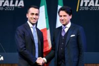 Leader of the Italy's populist Five Star Movement, Luigi Di Maio (L), with Italian lawyer Giuseppe Conte (R), who could become the country's next prime minister. L), shakes hands with Italian lawyer Giuseppe Conte, as Di Maio presents his would-be cabinet team. Luigi Di Maio and Matteo Salvini, the leader …