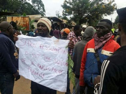 A protest last year in Bamenda, an anglophone hub in northwest Cameroon, against discrimination in favour of the country's francophone majority