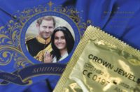 "A box of tribute ""Crown Jewels"" condoms issued to mark the upcoming wedding of Prince Harry and Meghan Markle"