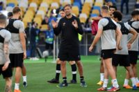 Jurgen Klopp leads Liverpool's training session on the pitch at Kiev's Olympic Stadium on Friday
