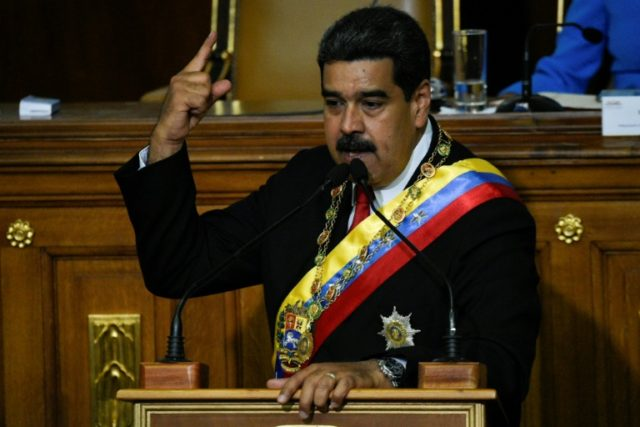 Venezuelan President Nicolas Maduro speaks during his second-term swearing in ceremony, at the Congress building in Caracas on May 24, 2018