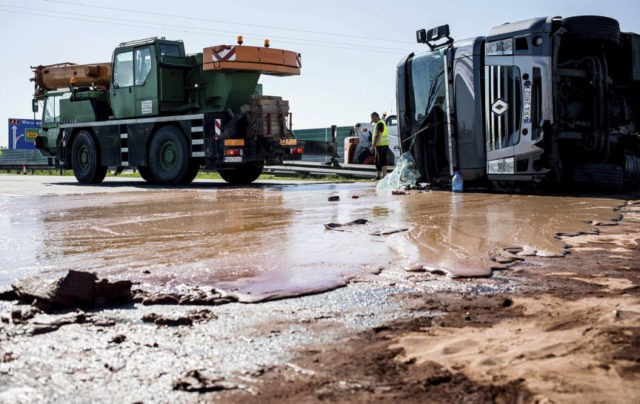 A sticky mess: liquid chocolate spills onto Polish highway