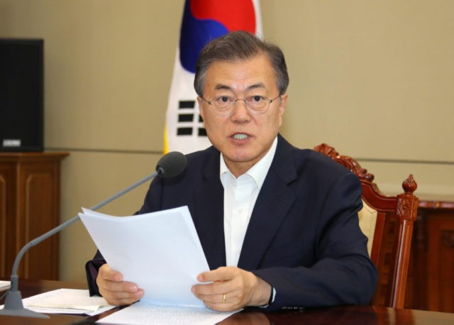 South Korean President Moon Jae-in talks during a meeting with his senior aides at the presidential Blue House in Seoul, South Korea, Monday, May 14, 2018. (Bee Jae-man/Yonhap via AP)