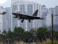 In this May 16, 2018, file photo, a U.S. F-22 Raptor stealth fighter jet lands as South Korea and the United States conduct the Max Thunder joint military exercise at an air base in Gwangju, South Korea. North Korean media are stepping up their rhetorical attacks on South Korea and …