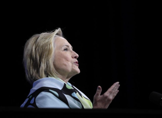 Former Secretary of State and former Democratic Presidential candidate Hillary Clinton speaks during the New York state Democratic convention, Wednesday, May 23, 2018, in Hempstead, N.Y. (AP Photo/Julie Jacobson)