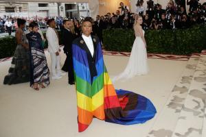 Lena Waithe wears rainbow cape to Met Gala