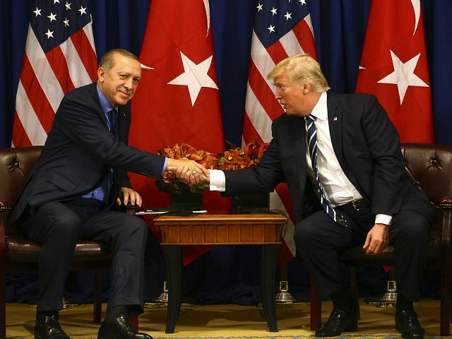 NEW YORK, USA - SEPTEMBER 21: Turkish President Recep Tayyip Erdogan (L) meets with US President Donald Trump (R) as part of his bilateral meetings, at the Lotte New York Palace Hotel in New York, United States on September 21, 2017. World leaders gathered in New York for the 72nd …