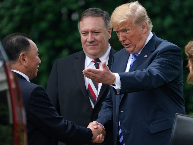 Former North Korean military intelligence chief Kim Yong Chol meets with President Donald Trump in the Oval Office, Friday, June 1, 2018, in Washington. Chol has presented Trump a letter from North Korean leader Kim Jong Un. (AP Photo/Andrew Harnik)