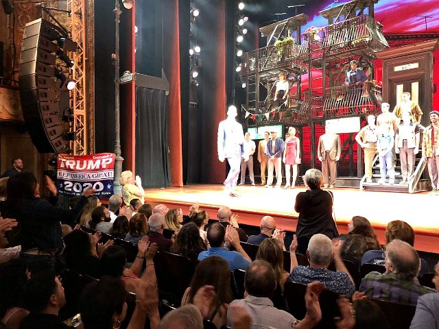 "A man supportive of President Donald Trump disrupted actor Robert De Niro's Broadway musical on Saturday by displaying a ""Keep America Great"" flag in front of the audience"