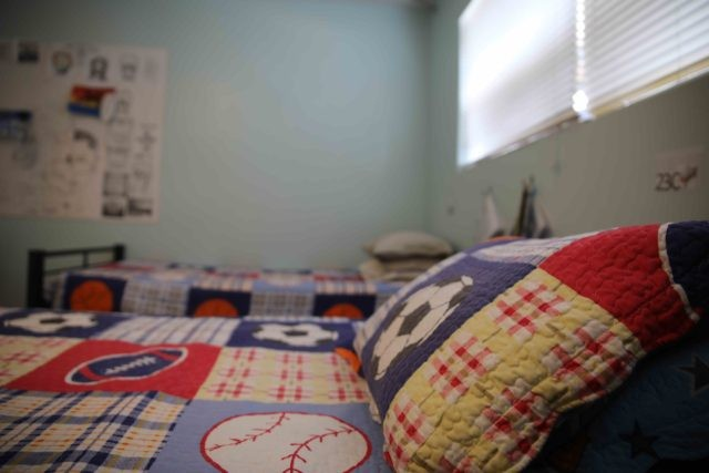 Bedroom in children's detention facility in El Cajon, California.
