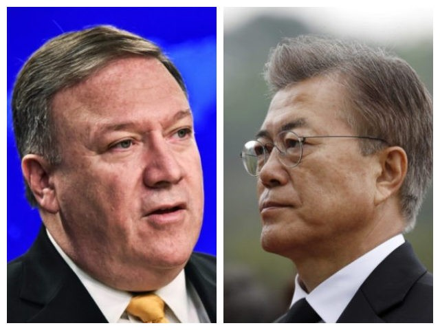 Collage of Secretary of State Mike Pompeo and South Korean President Moon Jae-in