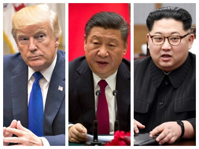 Collage of Trump, Xi, and Kim