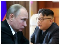 Collage of Putin and Kim Jong-un at desks