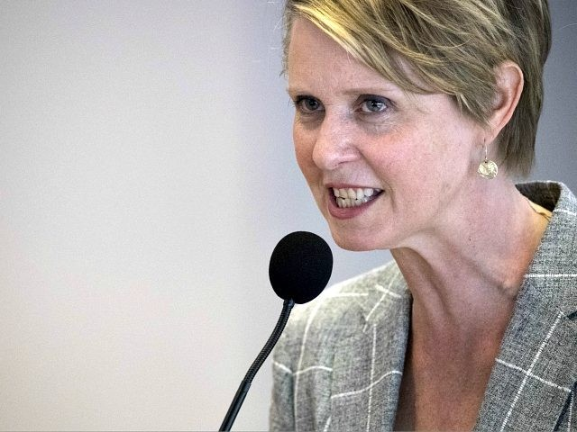 Democratic candidate for governor Cynthia Nixon speaks during a campaign event at Borough of Manhattan Community College, Wednesday, June 13, 2018, in New York. Nixon announced her education platform. (AP Photo/Mary Altaffer)