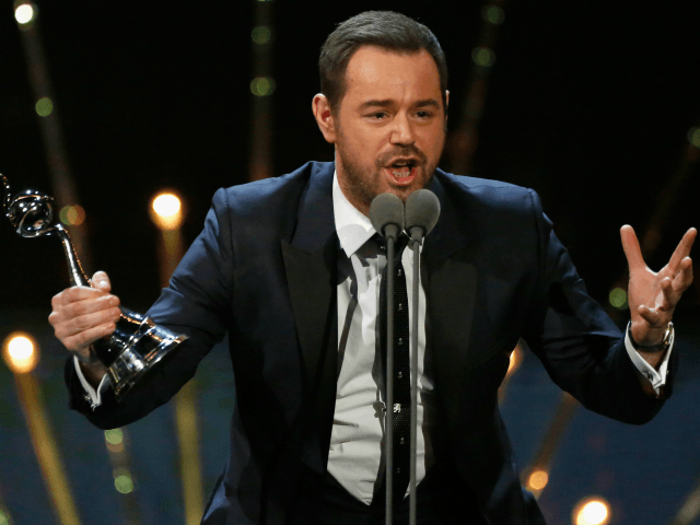 LONDON, ENGLAND - JANUARY 20: Danny Dyer wins the award for Best Serial Drama Performance at the 21st National Television Awards at The O2 Arena on January 20, 2016 in London, England. (Photo by Tristan Fewings/Getty Images)