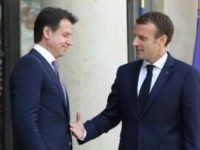 French President Emmanuel Macron welcomes new Italian Prime Minister Giuseppe Conte to the Elysee Palace in Paris ahead of talks on Friday